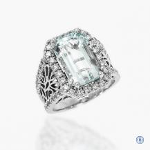 14k white gold 6.25ct aquamarine and diamond ring