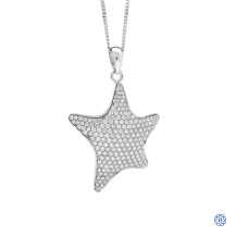 14k white gold and diamond star pendant