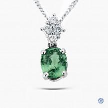 14k white gold alexandrite and diamond pendant