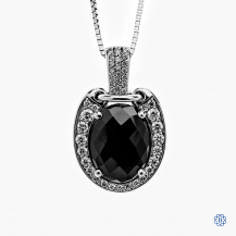 14k white gold oval cabochon and diamond pendant with chain