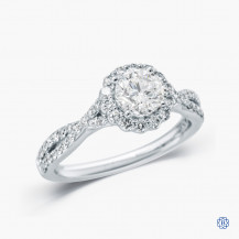 "18kt White Gold Maple Leaf Diamonds 0.71ct Diamond ""Love Letters"" Engagement Ring"