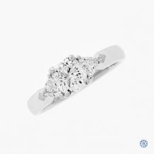 platinum three diamond engagement ring