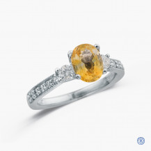 19k white gold yellow sapphire and diamond ring
