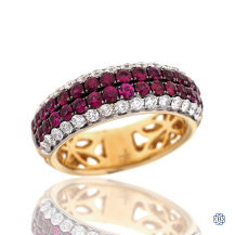 18kt Yellow and White Gold Ruby and Diamond Ring