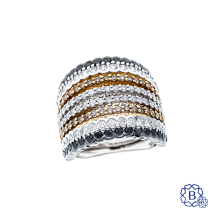 18k white and rose gold multi-row diamond fashion ring