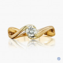 14k yellow and white gold 0.26ct diamond solitaire ring