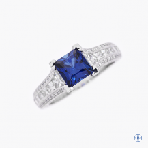 Tacori 18k white gold synthetic sapphire and diamond ring