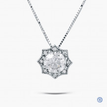 14kt white gold 0.71ct Maple Leaf Diamond Pendant With Chain