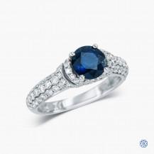 Simon G 18k White Gold Sapphire and Diamond Engagement Ring