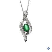 10kt White Gold emerald pendant with chain