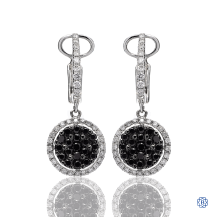 18kt White Gold Black and White Diamond Drop Earrings
