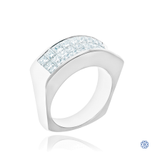 18kt White Gold Concave Diamond Ring