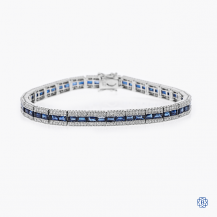 14kt white gold diamond and sapphire tennis bracelet