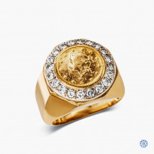 14k Yellow and White Gold Diamond Coin Ring