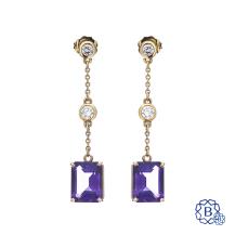 14kt Yellow Gold Amethyst & Diamond Drop Earrings