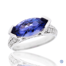 14kt White Gold Tanzanite and Diamond Ring