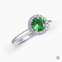 Gabriel & Co. 14kt white gold tsavorite garnet and diamond engagement ring