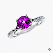 Tacori 18k white gold synthetic pink sapphire and diamond engagement ring