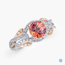Simon G 18k white and rose gold orange sapphire and diamond ring