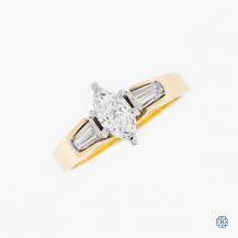 18k yellow and white gold 0.42ct diamond ring