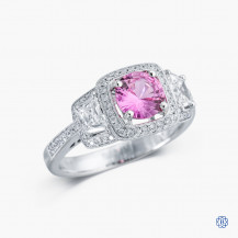 Simon G 18k white gold 1.00ct pink sapphire and diamond ring
