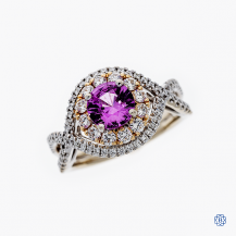 Simon G 18k white and rose gold pink sapphire and diamond ring