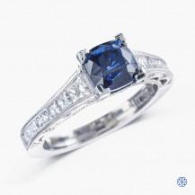 Tacori Platinum Reverse Crescent 1.60ct Lab Created Sapphire and diamond engagement ring