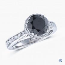 Tacori 18kt white gold Dantela 1.81ct Black Diamond engagement Ring