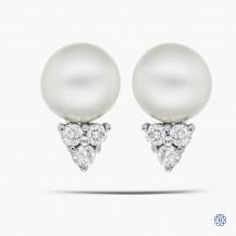 14k White Gold Pear and Diamond Earrings