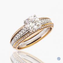 Simon G 18k white and rose gold Forever One moissanite and diamond ring
