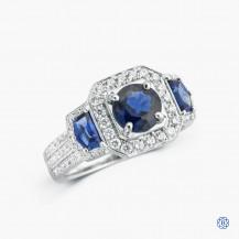 Simon G 18k white gold 1.00ct sapphire and diamond ring
