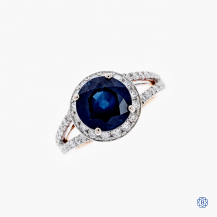 18k white and rose gold sapphire and diamond ring