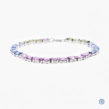14kt white gold sapphire and diamond bracelet