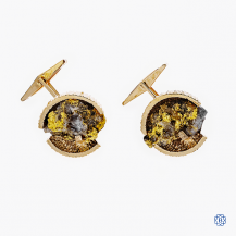 10k yellow gold cufflinks with gold pieces and quartz crystals