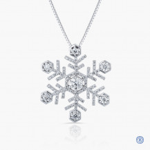 14kt Maple Leaf Diamond Snowflake pendant with chain