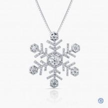 14kt Maple Leaf Diamond Snowflake pendant with chain