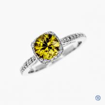 Tacori 18k white gold yellow sapphire and diamond engagement ring
