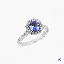 Tacori 18k white gold 1.52ct sapphire and diamond ring