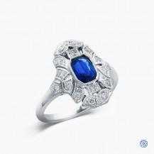 18k white gold 0.78ct sapphire and diamond ring