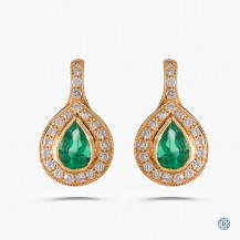Beverly K 14k yellow gold emerald and diamond drop earrings
