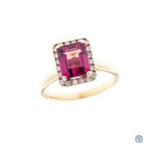 10k rose gold tourmaline and diamond ring