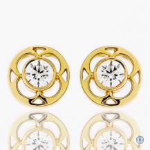 Hearts on Fire 18k yellow gold diamond stud earrings