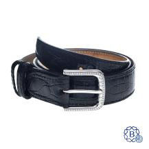 18k white gold diamond belt buckle on Vero Coccodrillo leather belt