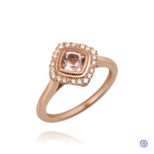14kt Rose Gold 0.70ct Morganite and Diamond Engagement Ring