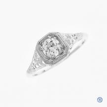Beverly K 14kt white gold Old European Cut diamond ring