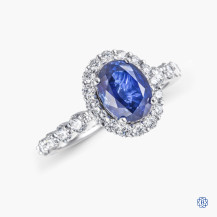 Simon G 18k white gold sapphire and diamond engagement ring
