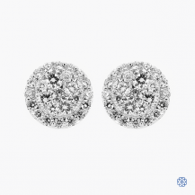14k white gold diamond cluster style stud earrings