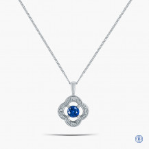 10k White Gold Blue Sapphire and Diamond Pendant With Chain