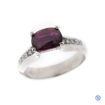 18kt white gold, ruby and diamond ring