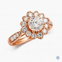 Floral 18kt rose gold 1.10ct Round Diamond diamond engagement ring